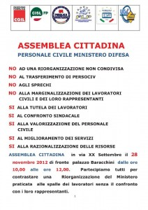 Mercoledì 28 novembre a Roma assemblea cittadina