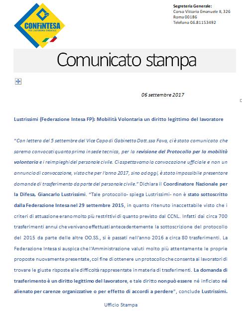 Lustrissimi (Federazione Intesa FP): Mobilità Volontaria un diritto legittimo del lavoratore