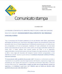 COMUNICATO STAMPA – RICONOSCIMENTO DELLA SPECIFICITA' DEL PERSONALE CIVILE DELLA DIFESA