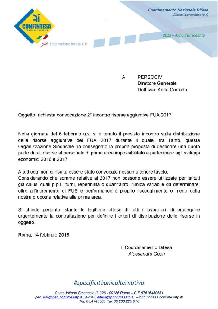 FUA 2017 – 10 MILIONI – Confintesa chiede con urgenza il 2° incontro
