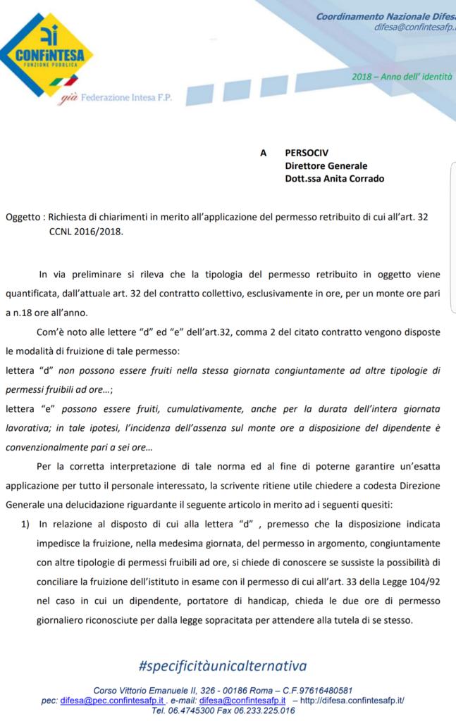Richiesta di chiarimenti a Persociv su Art. 32 CCNL 2016/2018 – Permessi orari retribuiti per particolari motivi personali o familiari