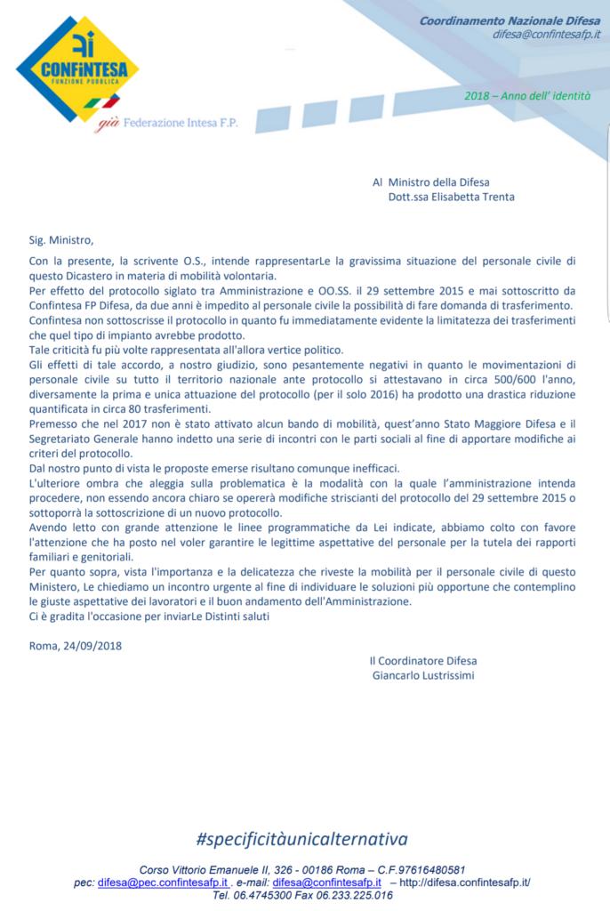 Lettera al Ministro Trenta sul protocollo di mobilità volontaria