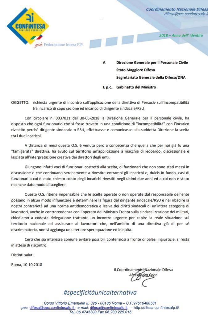 richiesta urgente di incontro sull'applicazione della direttiva di Persociv sull'incompatibilità tra incarico di capo sezione ed incarico di dirigente sindacale/RSU