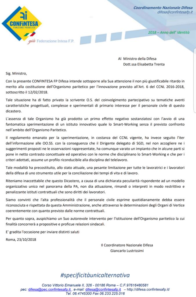 LETTERA AL MINISTRO TRENTA SU  costituzione dell Organismo paritetico per l'innovazione – Art. 6 del CCNL 2016-2018