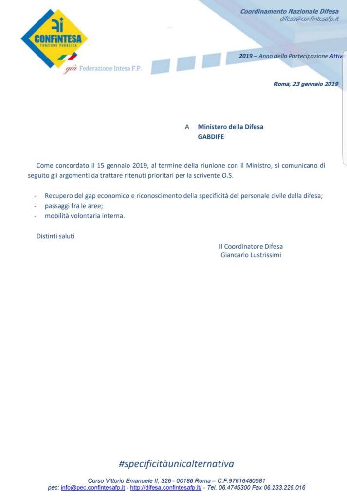 COMUNICATI AL MINISTRO GLI ARGOMENTI PRIORITARI DA TRATTARE