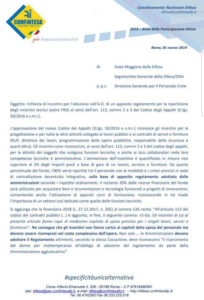 Confintesa chiede l'adozione nella Difesa di un apposito regolamento per la ripartizione degli incentivi tecnici (extra FRD)