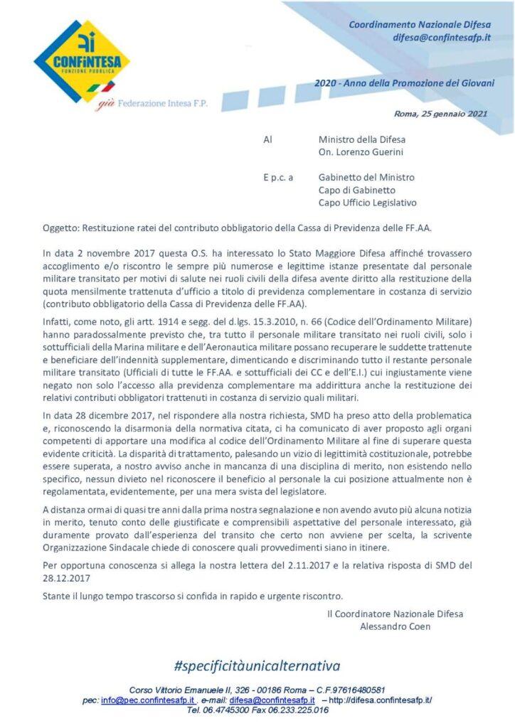 Restituzione ratei del contributo obbligatorio della Cassa di Previdenza delle FF.AA.
