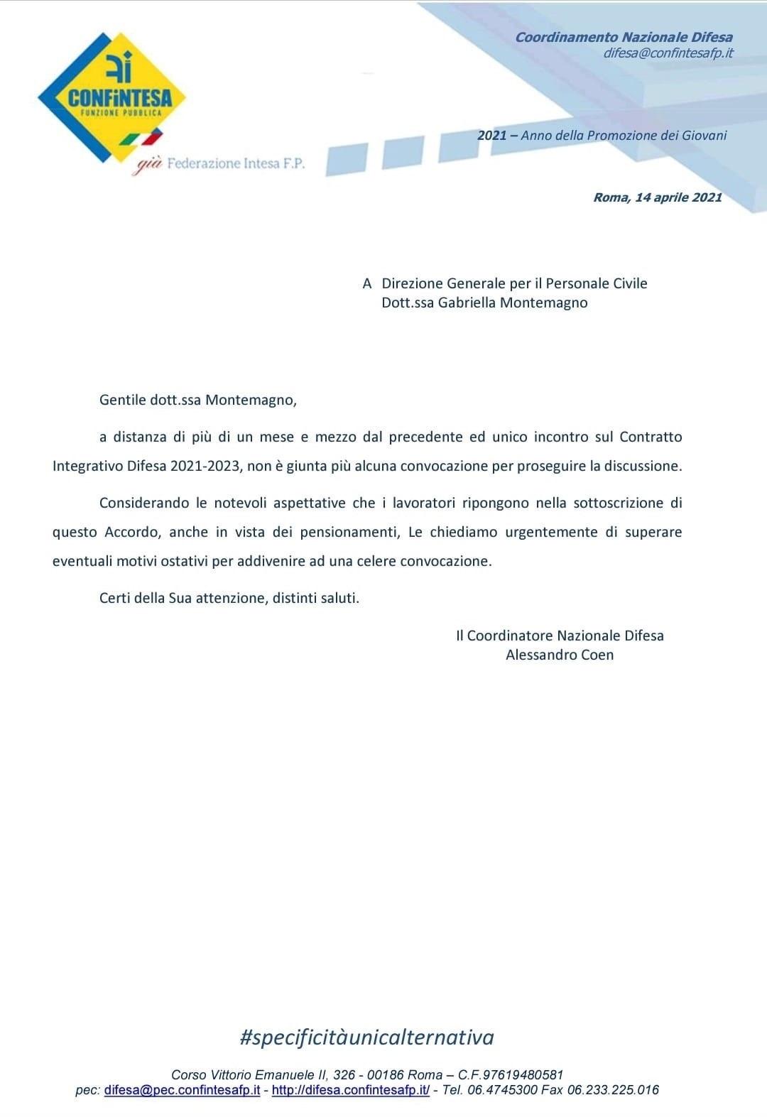 Contratto Integrativo Difesa 2021-2023 –  sviluppi, passaggi verticali, fondo prima area, mobilità e indennità di amministrazione
